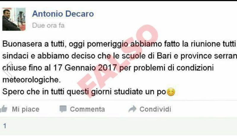Decaro scopre un finto Decaro su facebook